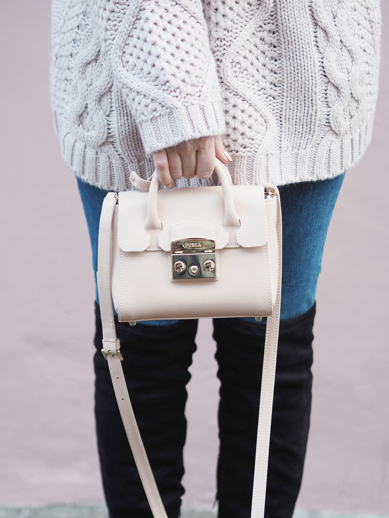 mini pink furla handbag gold hardware