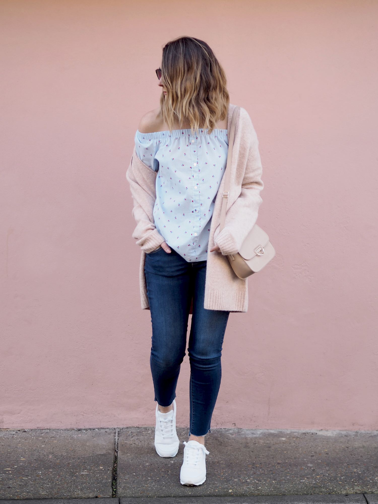 primark bardot top with jeans and pink cardigan