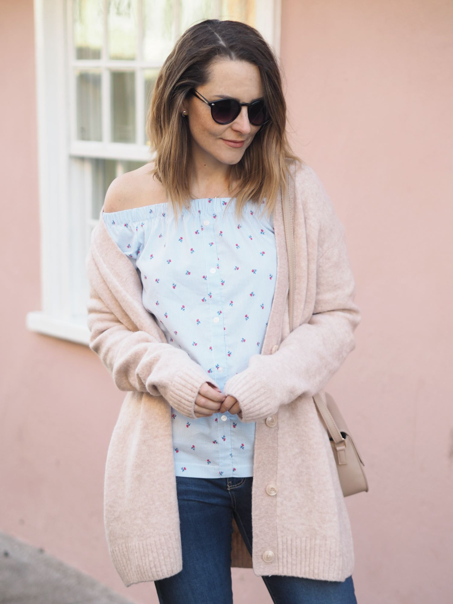 pink outfit primark bardot top with flowers and chunky cardi