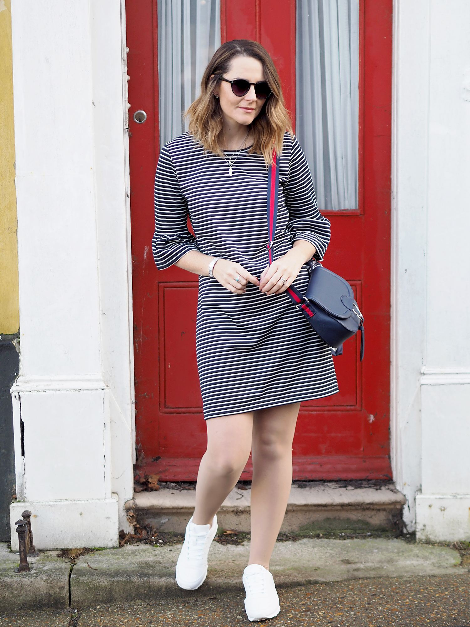 primark striped dress with flared sleeve outfit