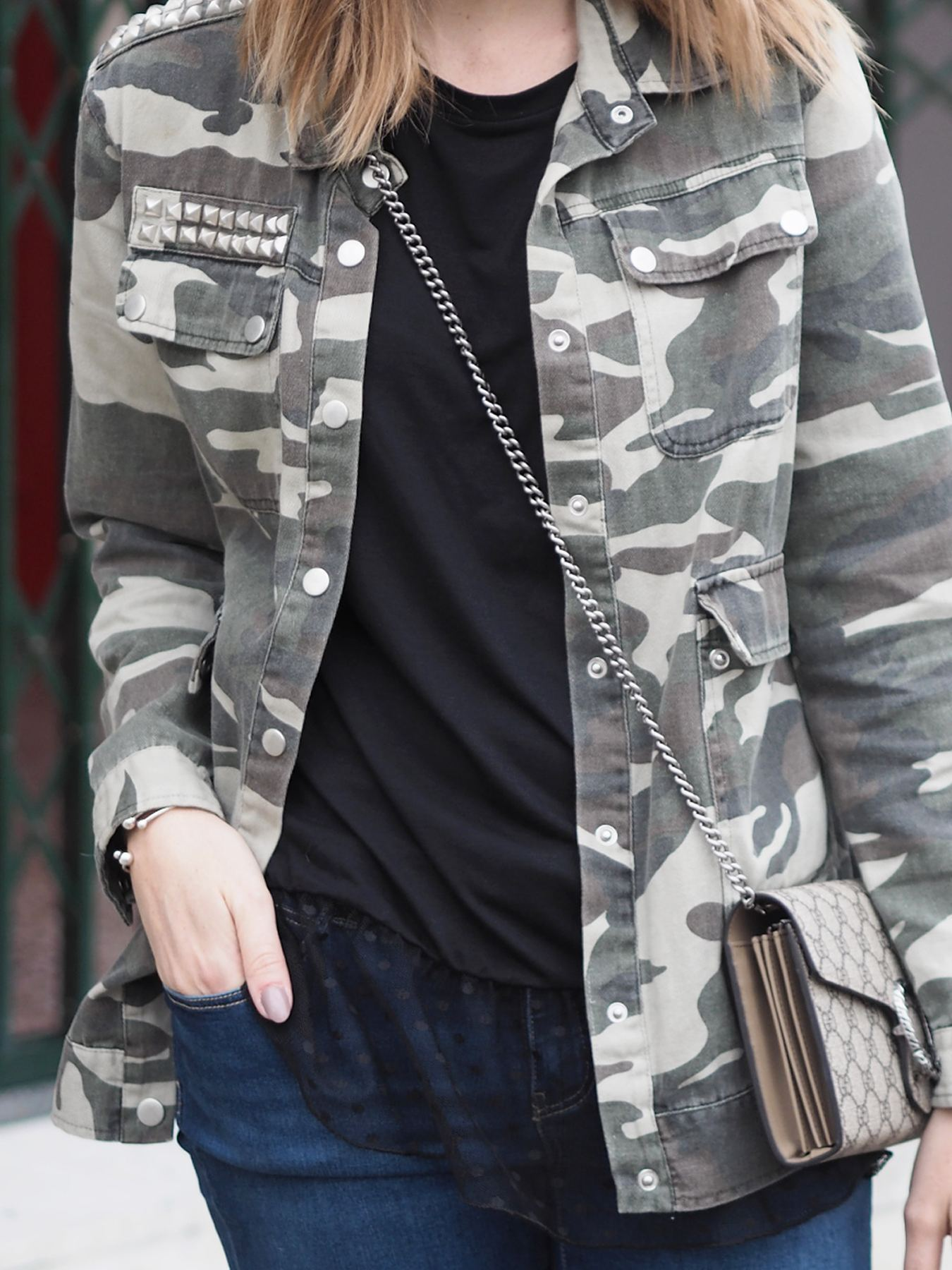 camo jacket outfit gucci dionysus