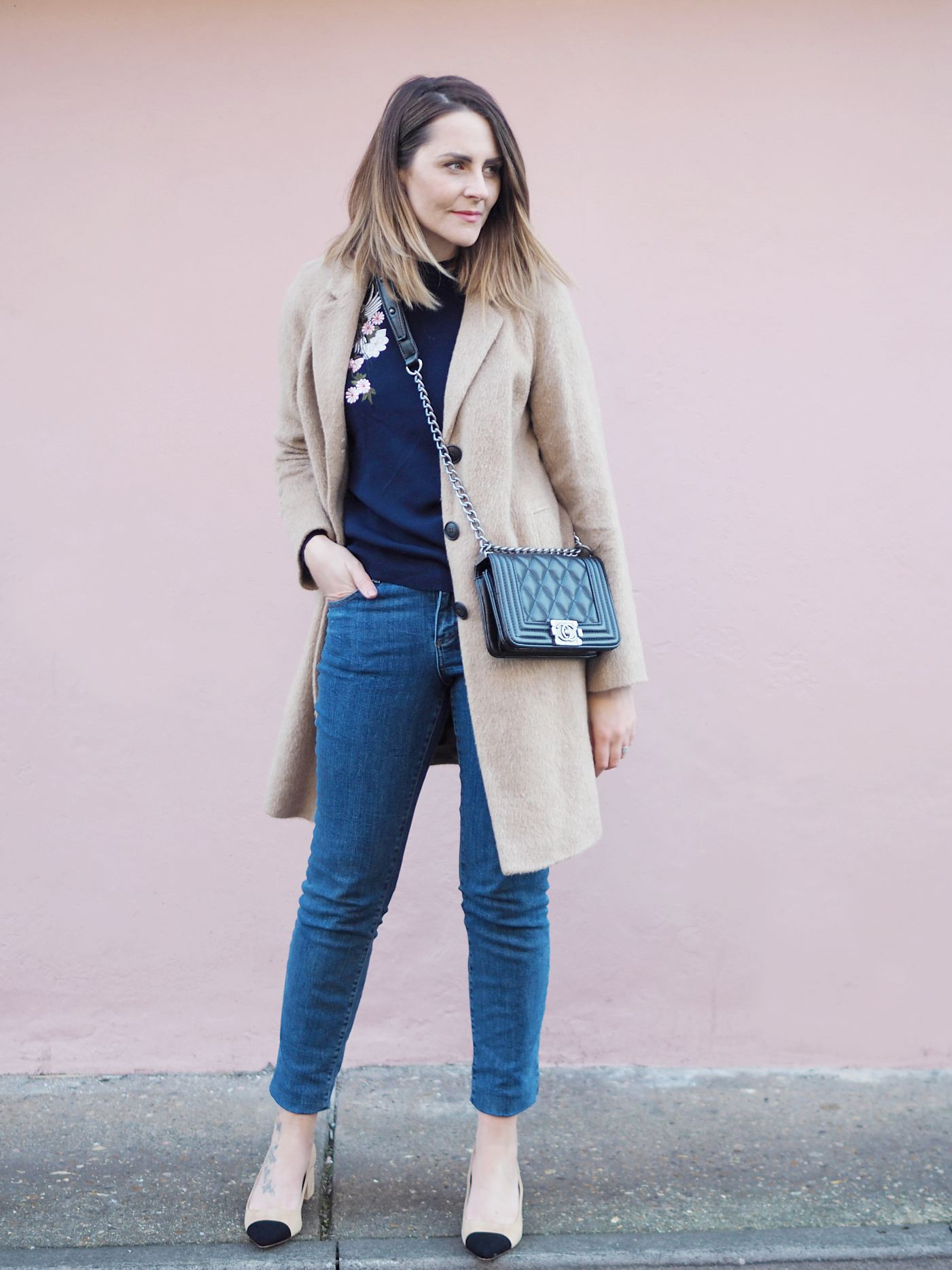 dorothy perkins outfit embroidered jumper and camel coat with chanel boy bag