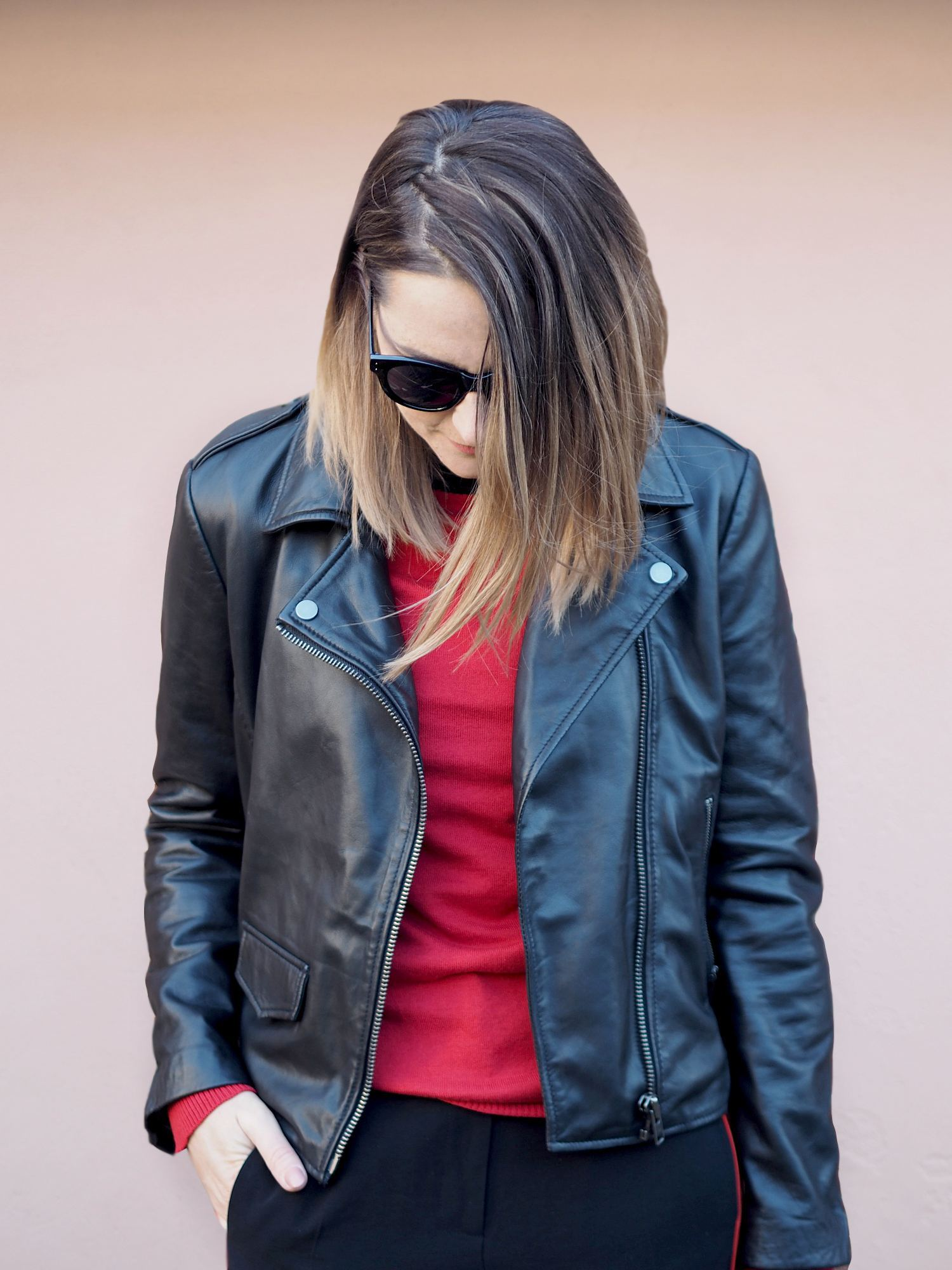 real leather jacket outfit casual with red jumper sporty outfit