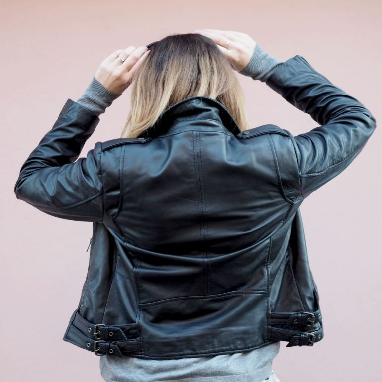 real leather jacket outfit casual with jeans