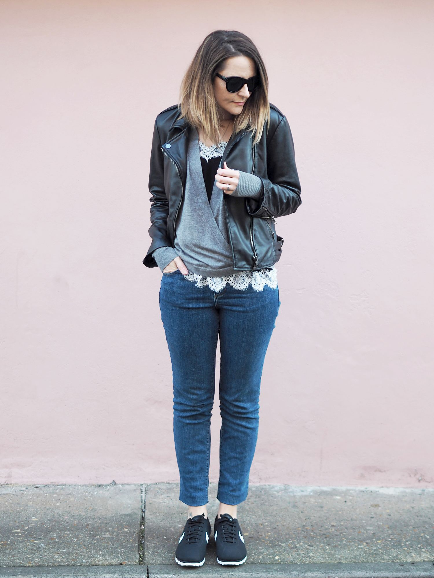 invest in a real leather jacket outfit casual with jeans