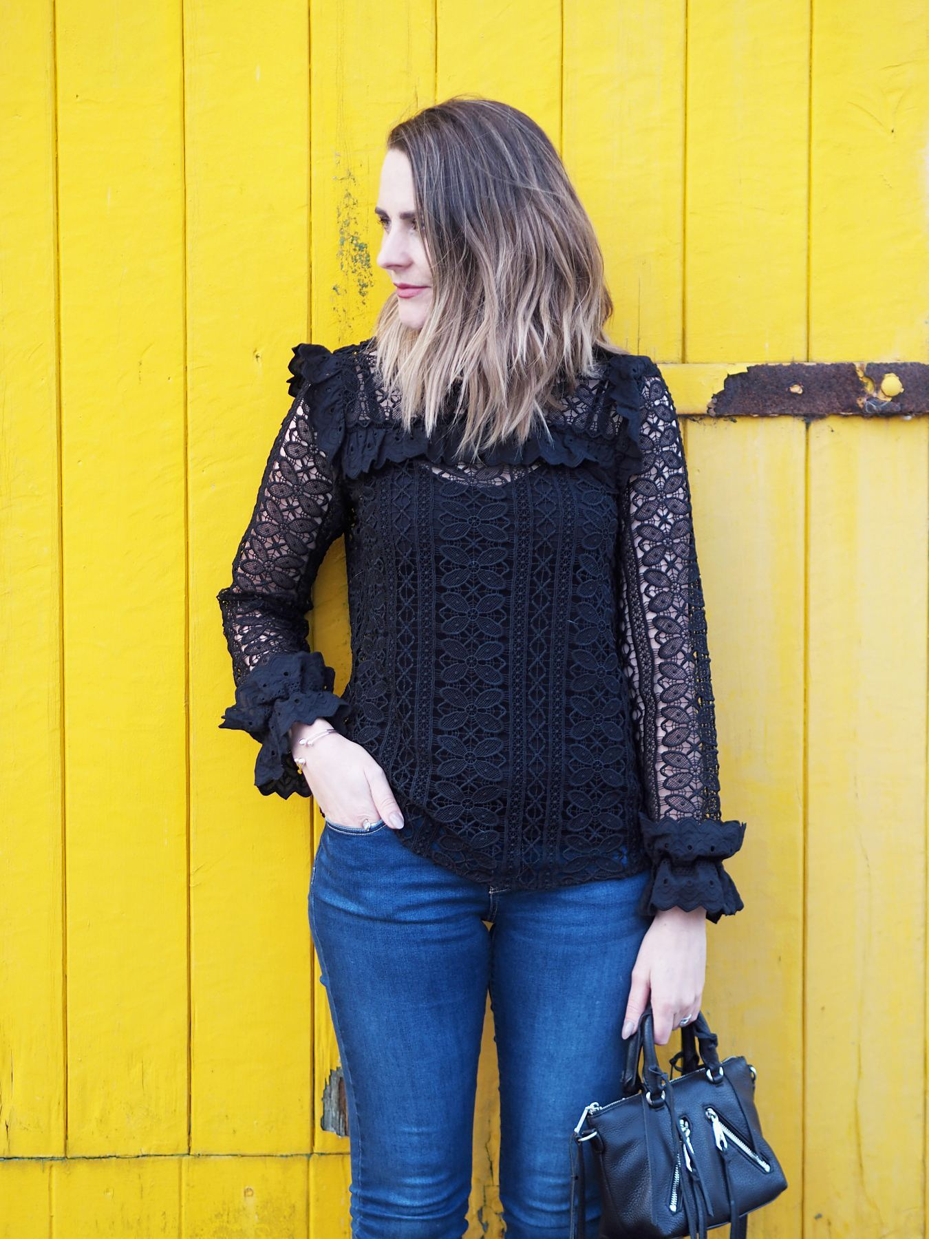 monsoon black lace blouse