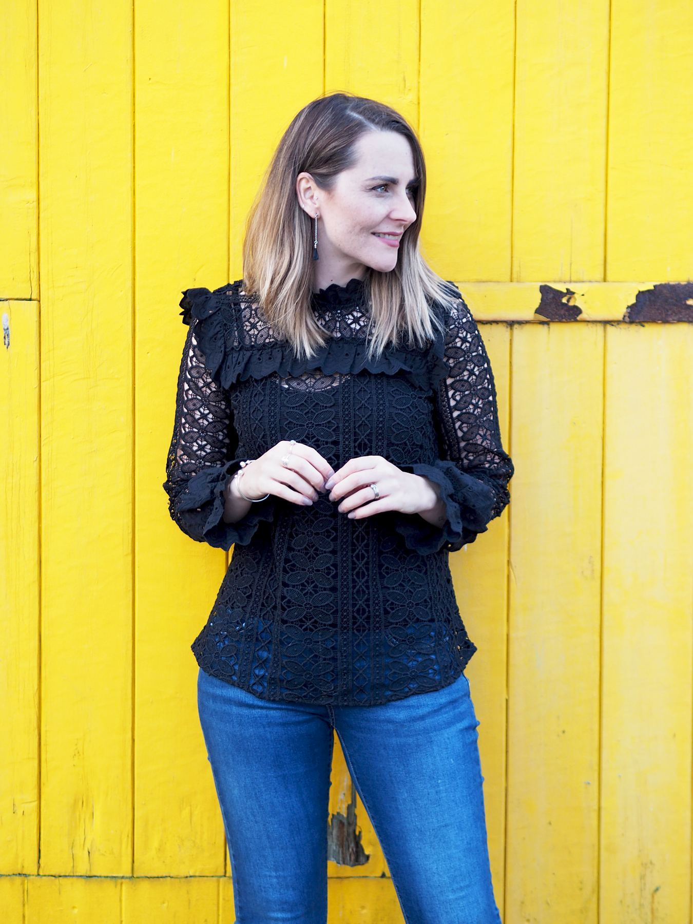 monsoon black lace top