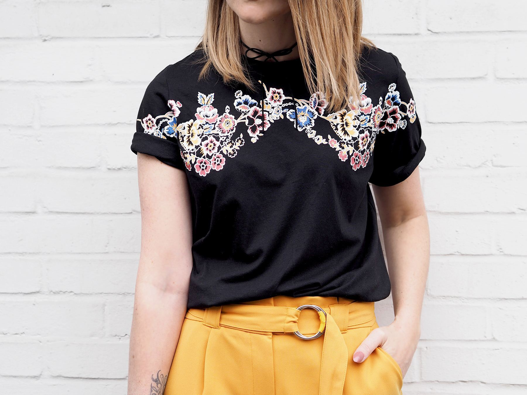 m&s limited collection floral tshirt