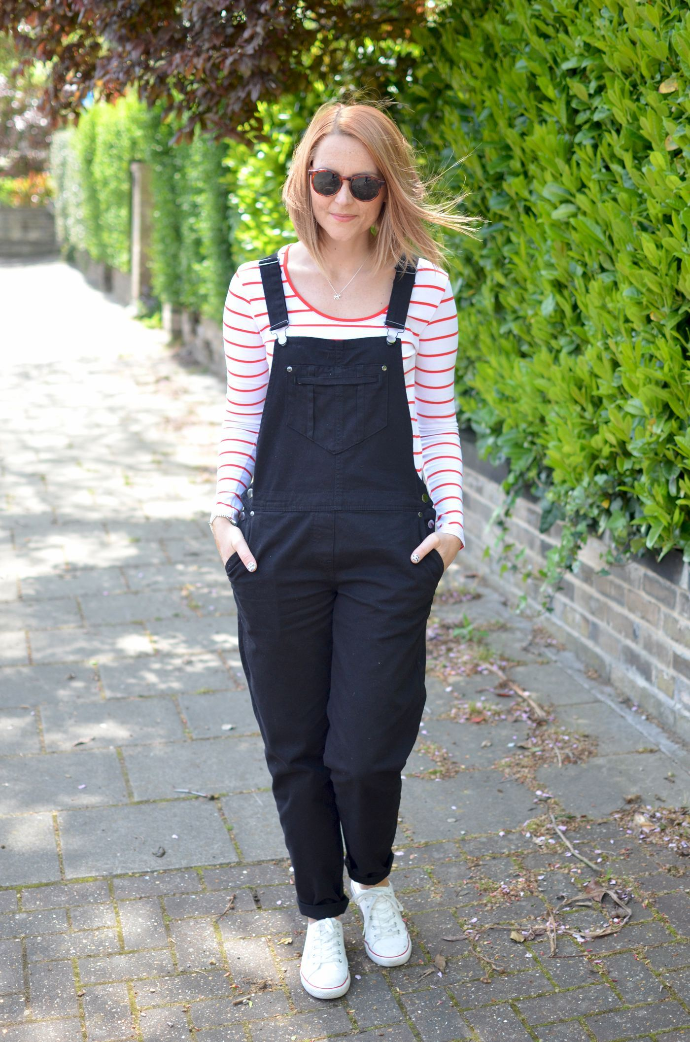 dungarees and stripey top outfit