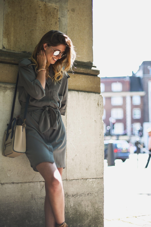 emma hill khaki outfit celine bag