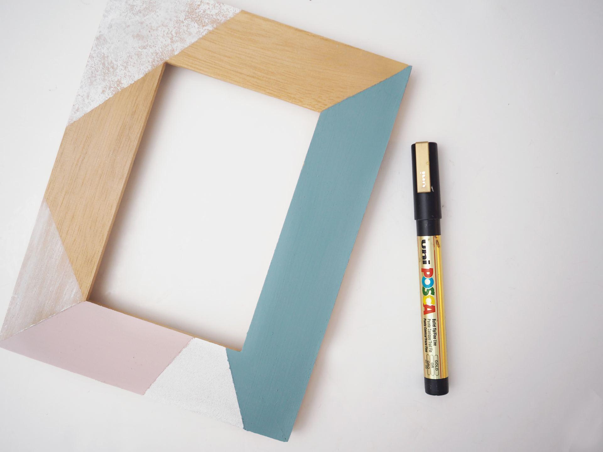 pastel geo painted frame diy