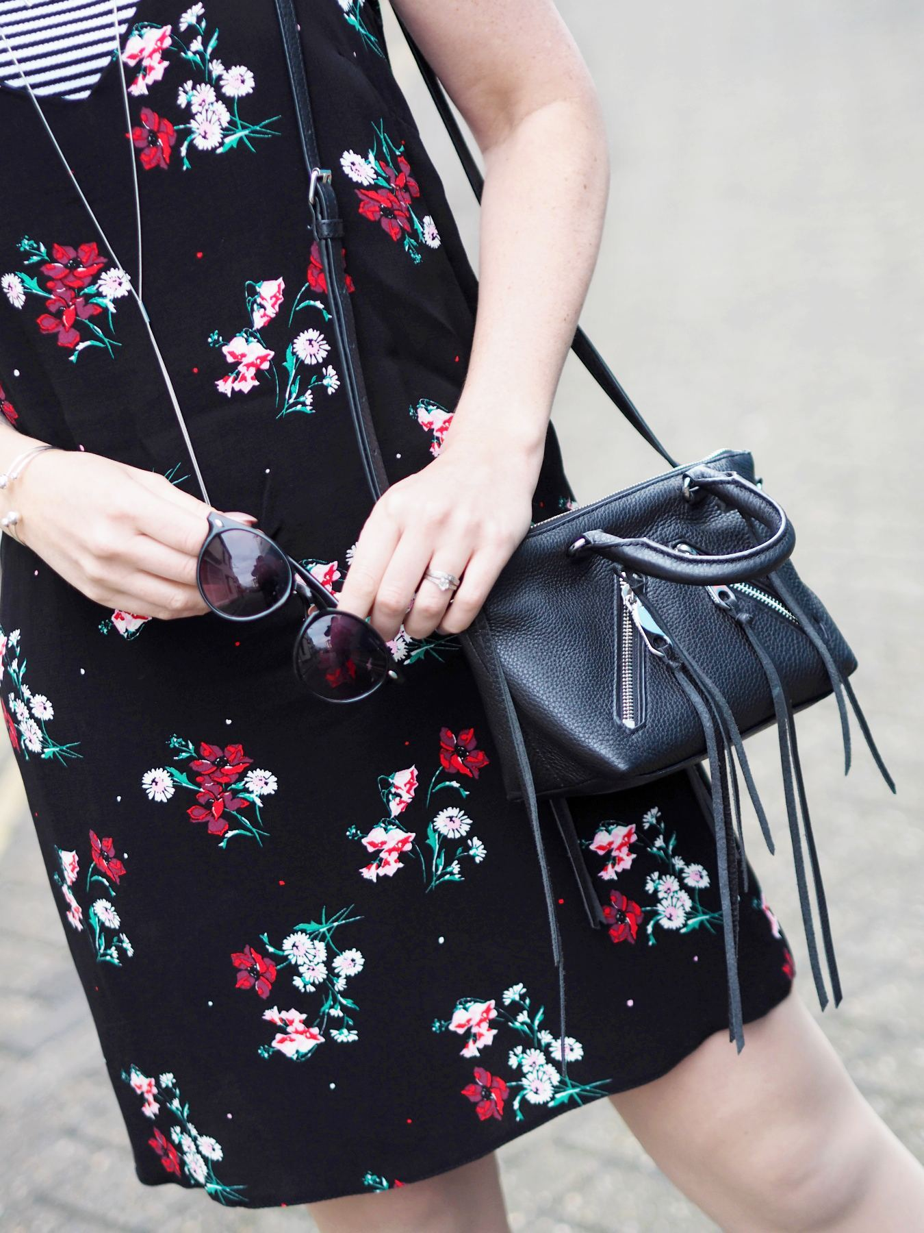 new look floral slip dress with striped tshirt and black rebecca minkoff bag