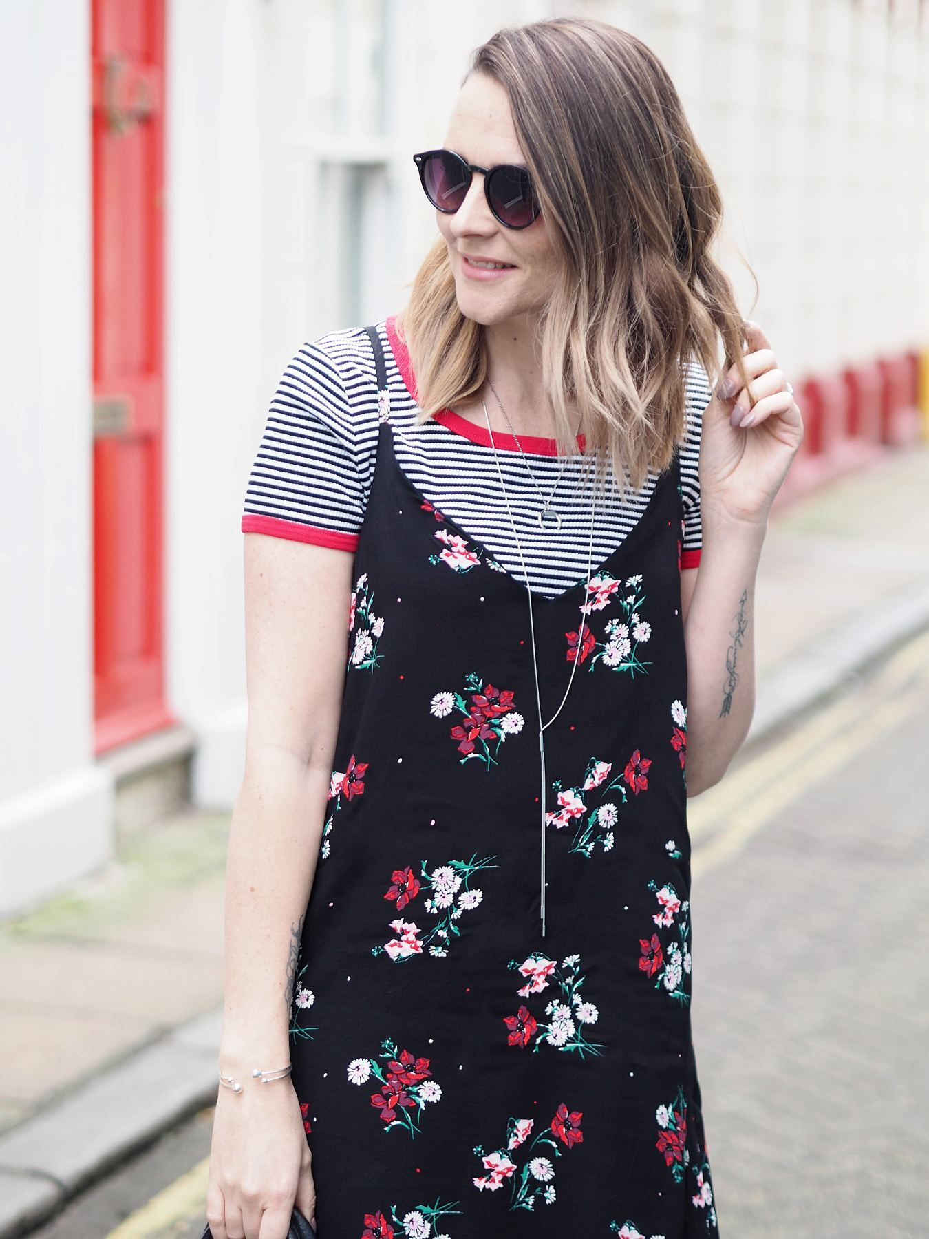 new look slip dress with striped tshirt and black outfit summer