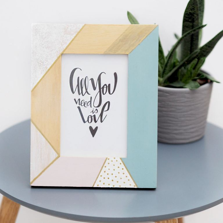 pastel geo painted frame diy