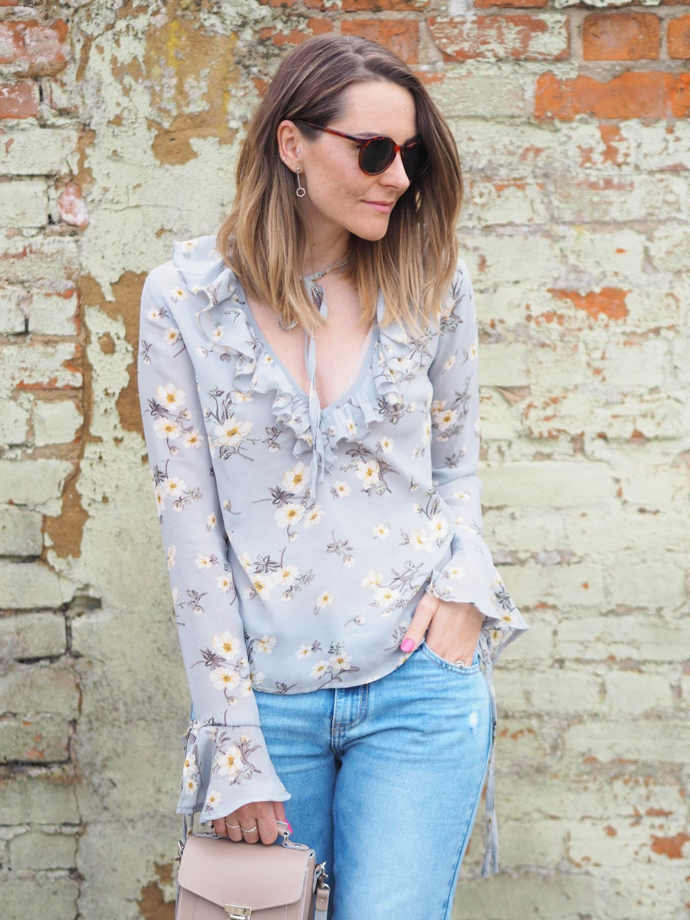 Missguided floral blouse with tie sleeves