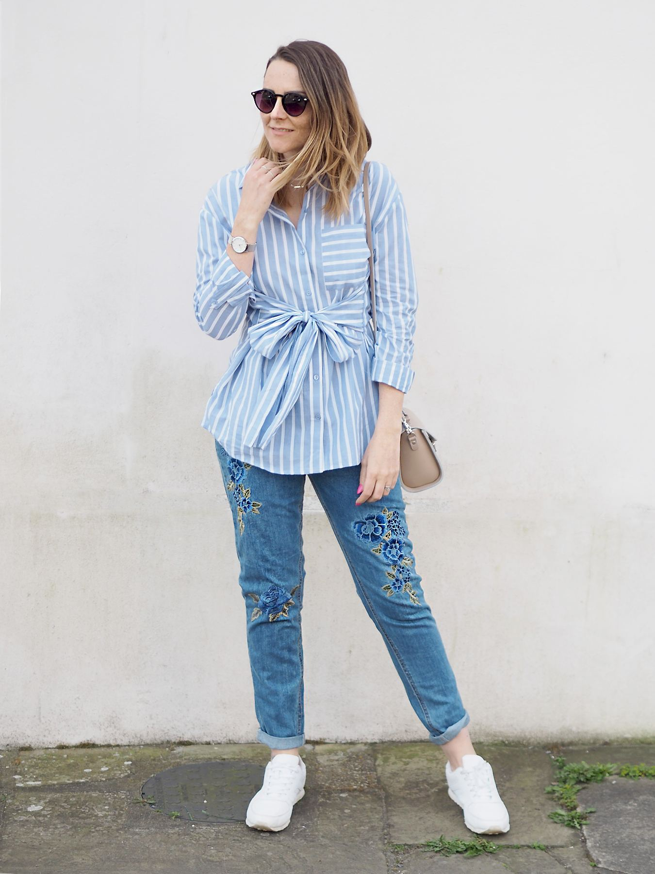 missguided floral embroidered jeans