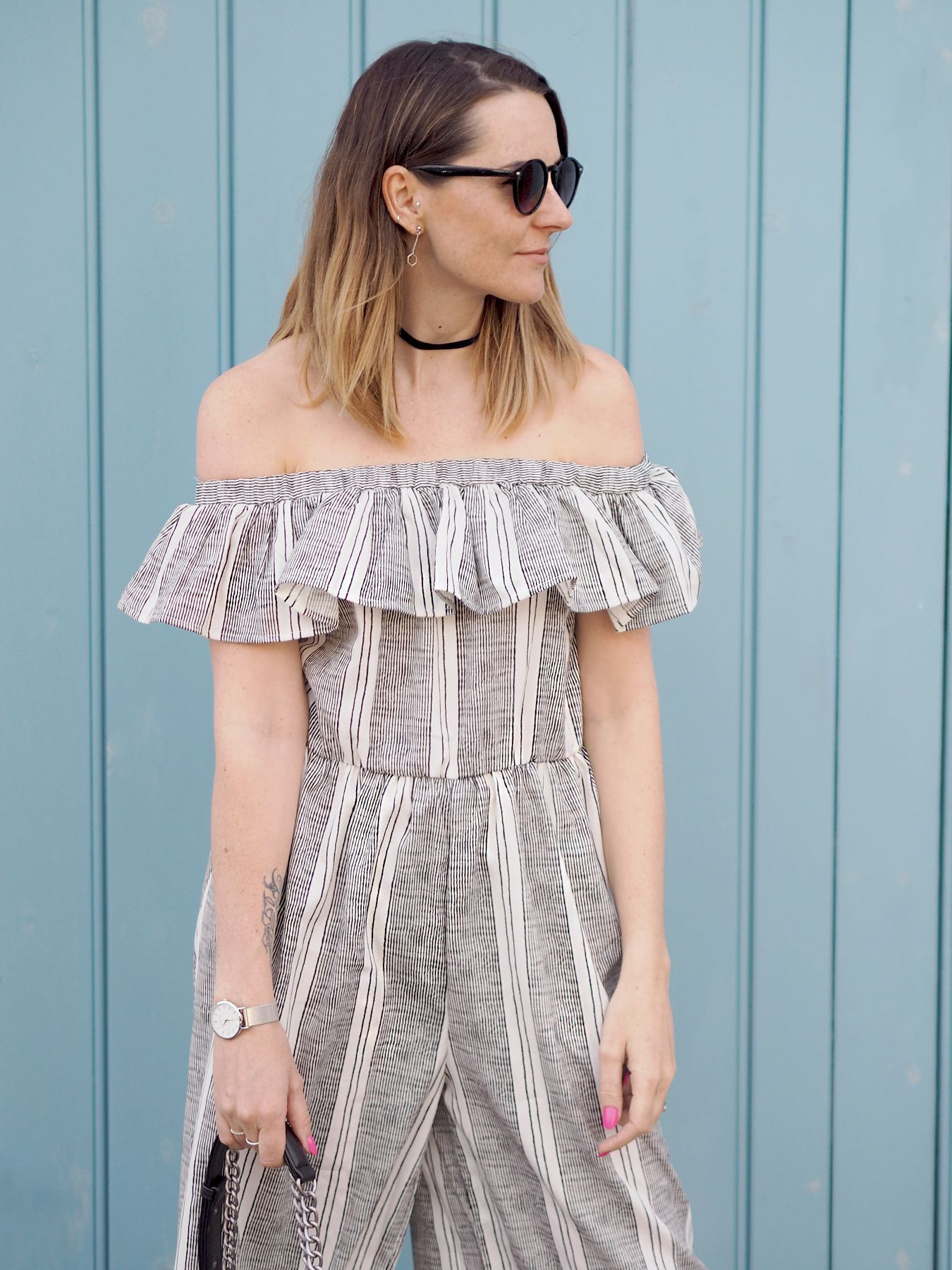 missguided striped bardot frill jumpsuit