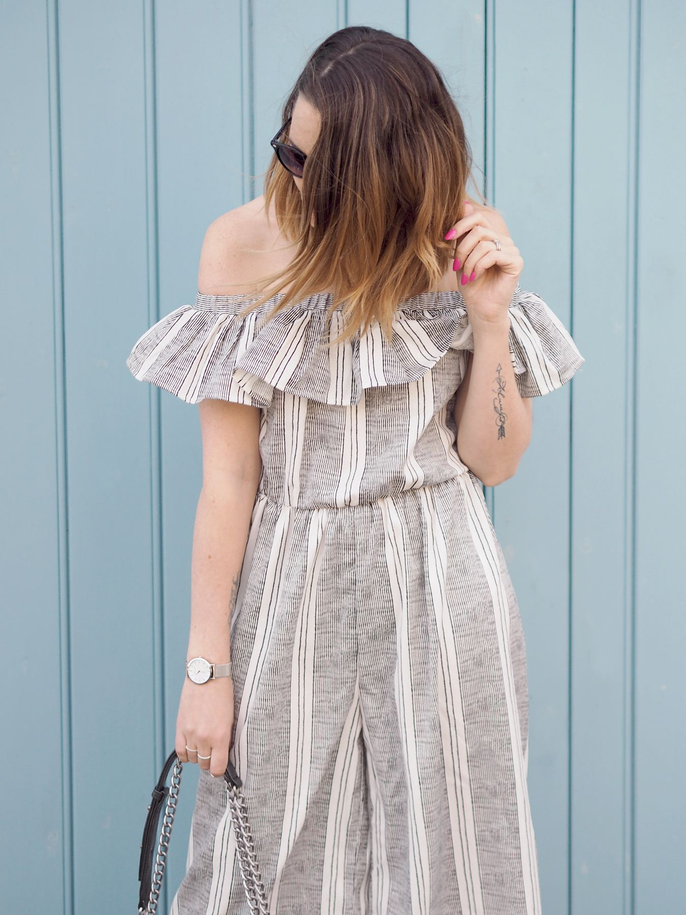 missguided after 30 striped bardot frill jumpsuit