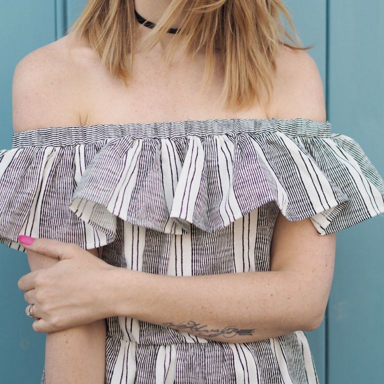 missguided striped bardot frill jumpsuit