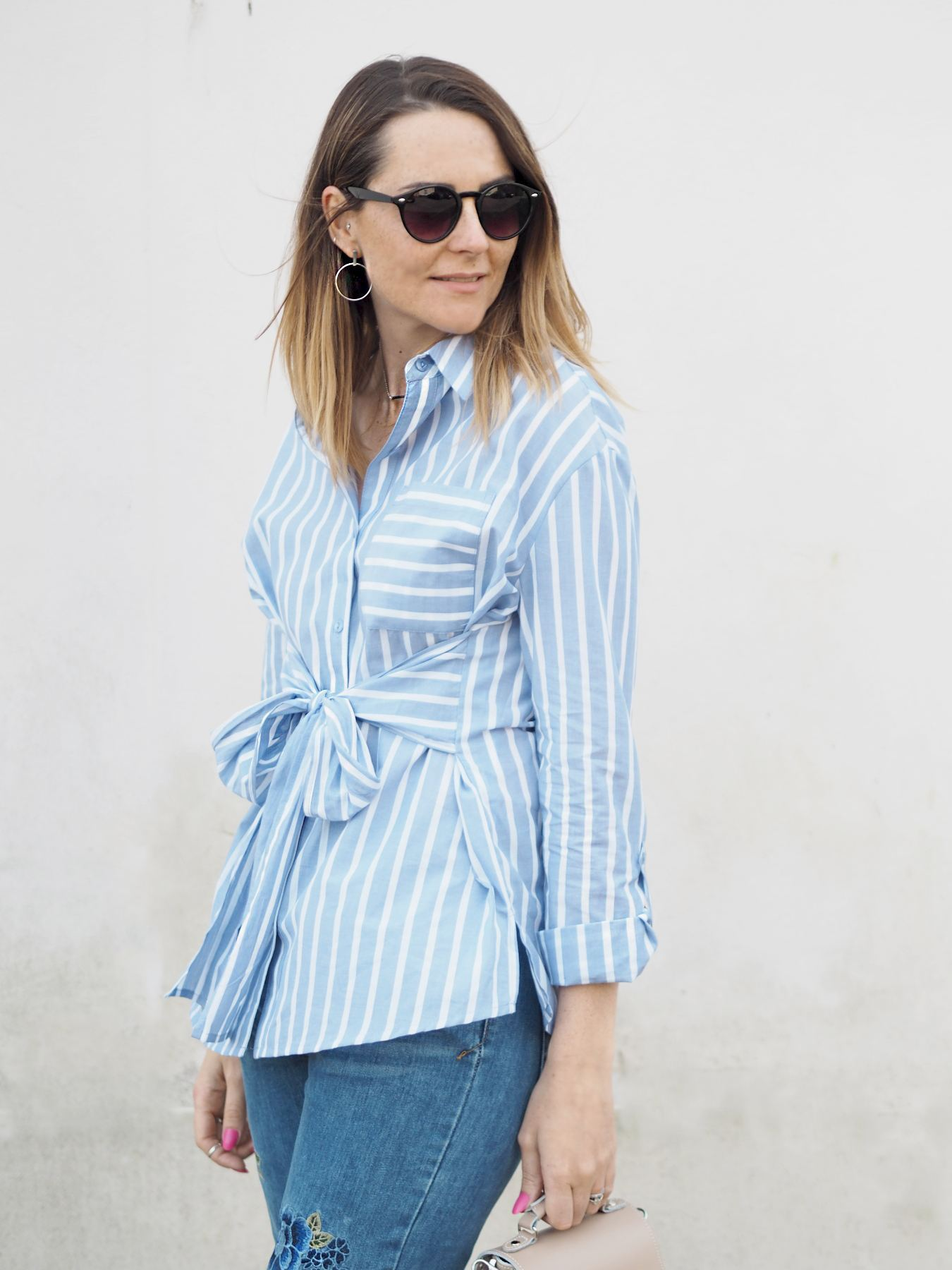 missguided blue striped shirt with tie front