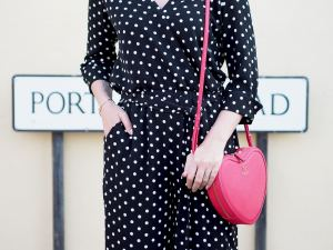 wallis spotted jumpsuit and trainers radley heart shaped bag