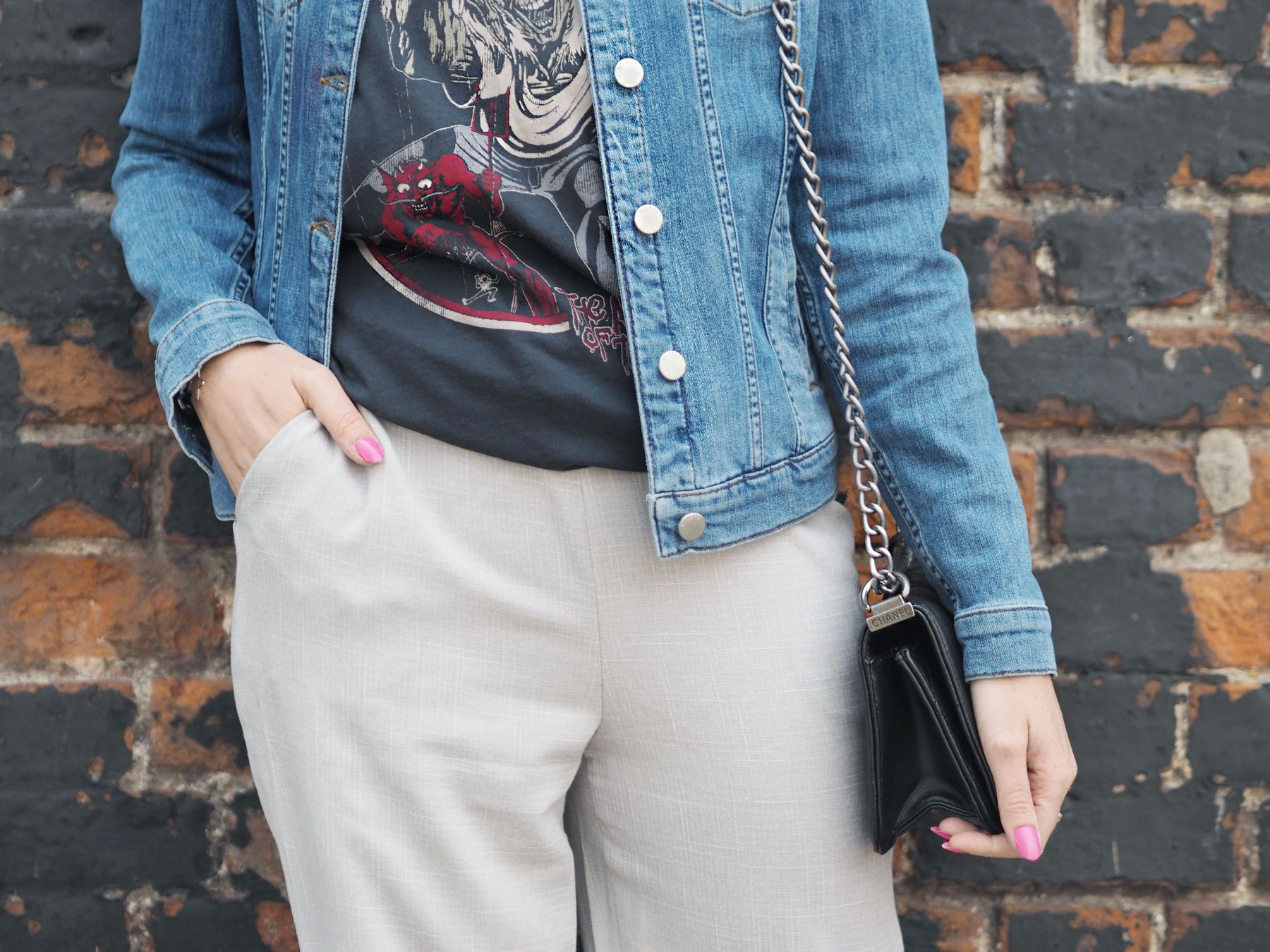 missguided grey culottes band tee and denim jacket chanel boy bag