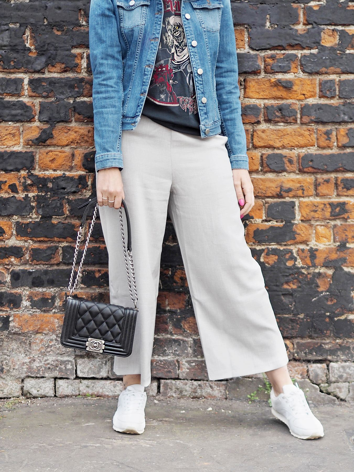 missguided after 30 grey culottes band tee and denim jacket