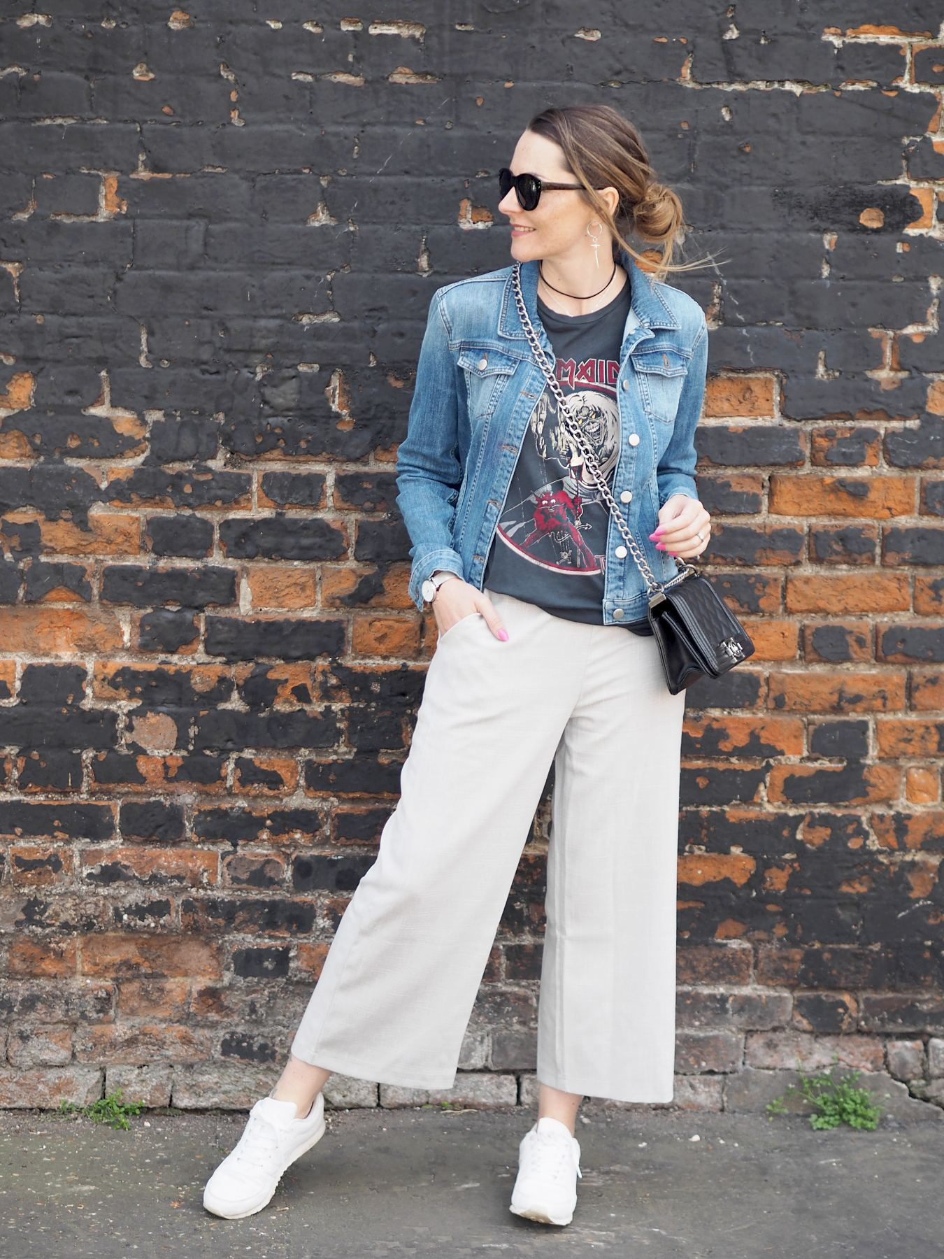 missguided grey culottes band tee and denim jacket