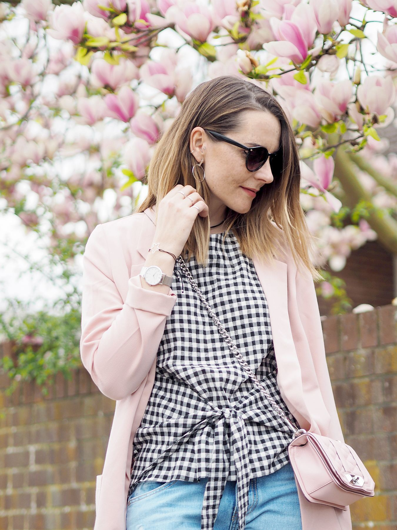 pink blazer and River Island gingham top