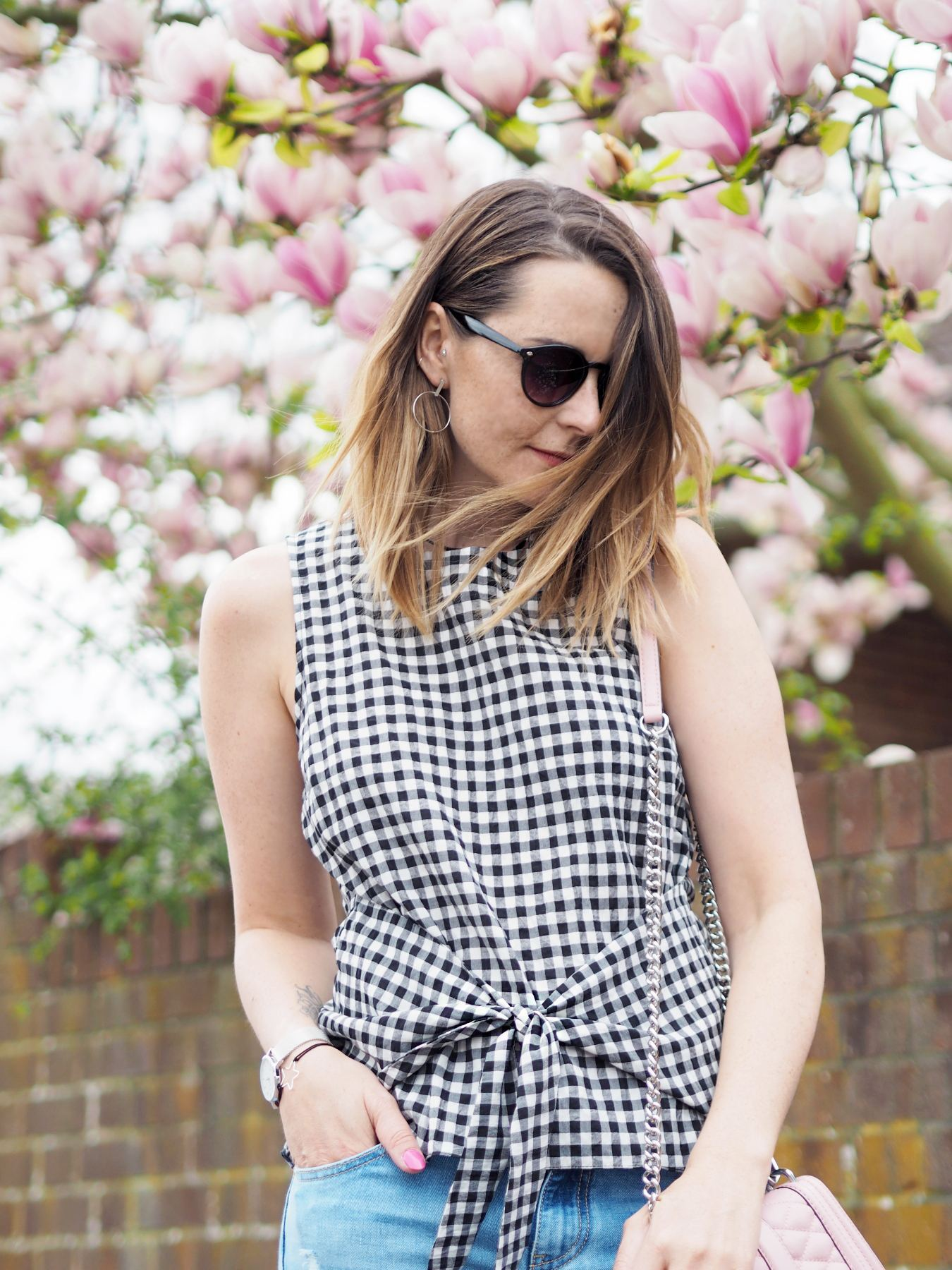 river island gingham top with tie front