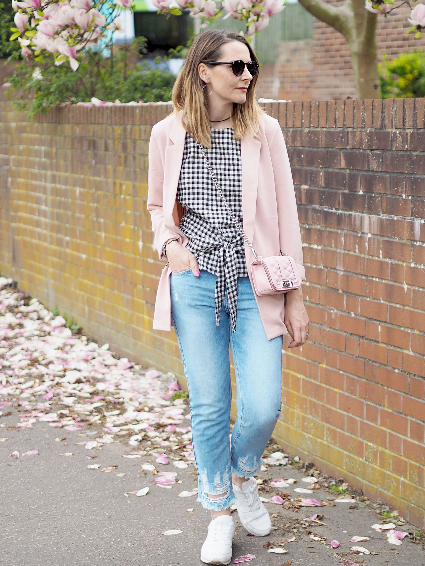 gingham and pink outfit pink blazer and River Island gingham top