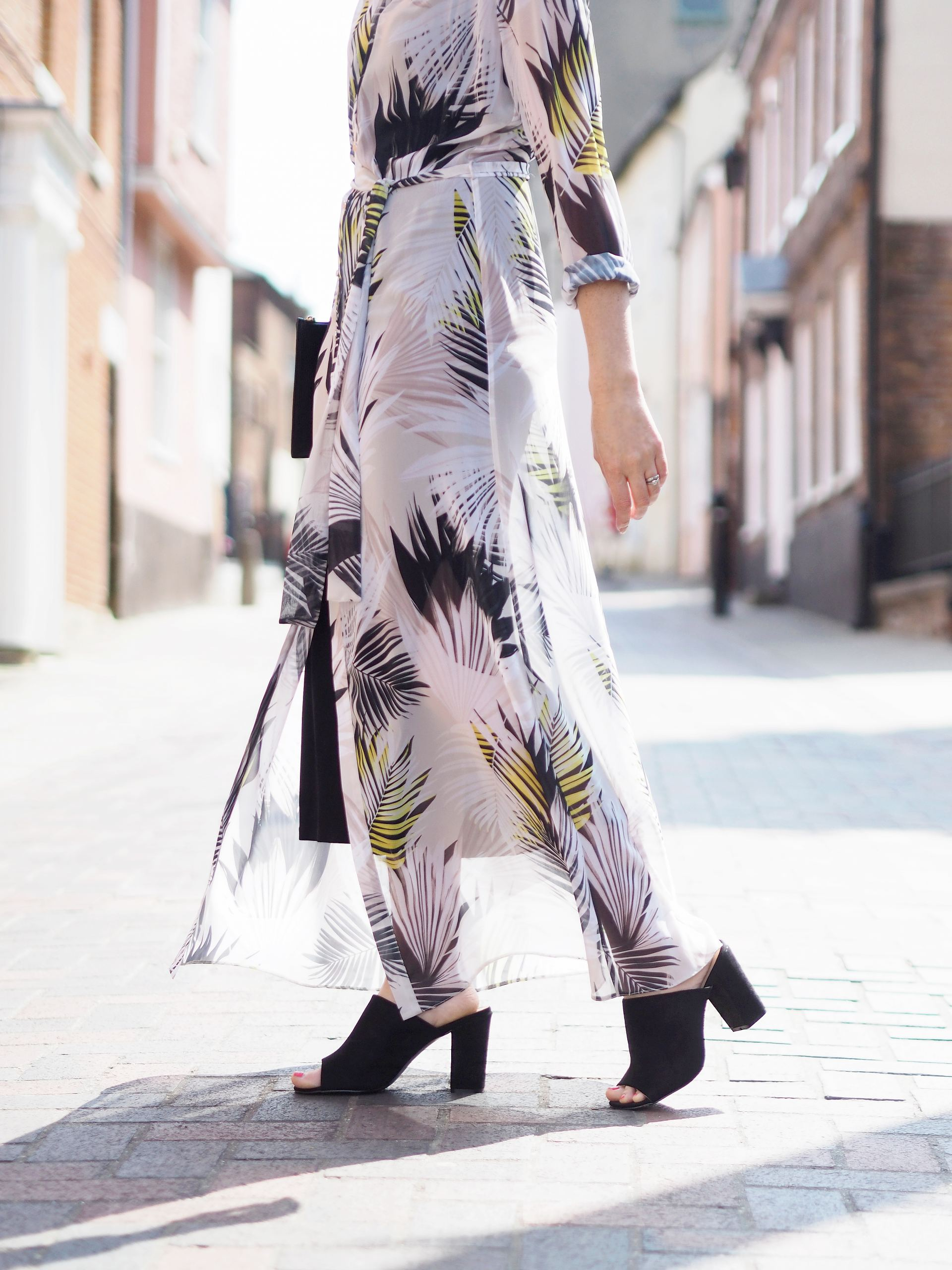 maxi shirt dress and heeled mules