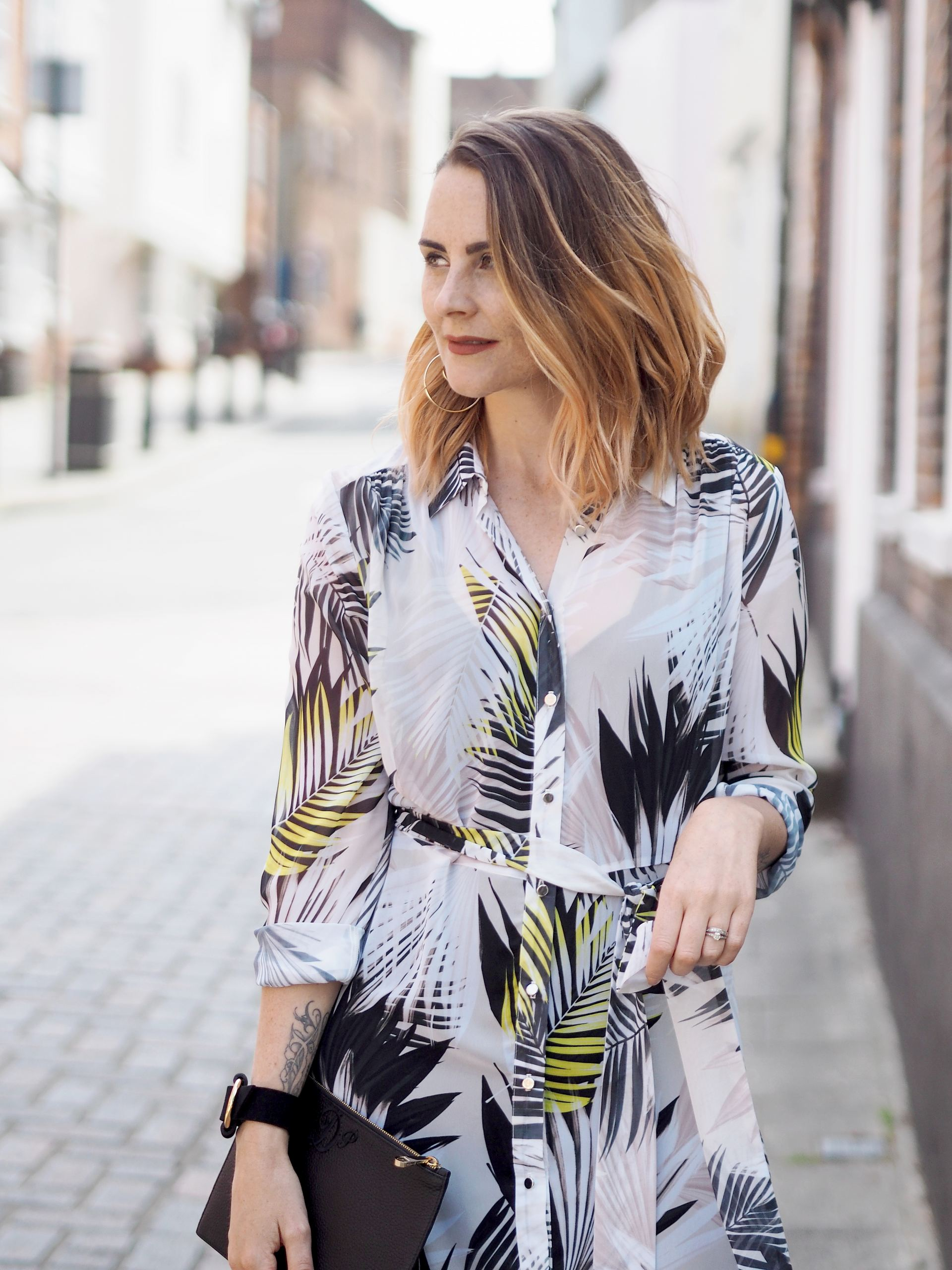 palm print wallis maxi shirt dress outfit