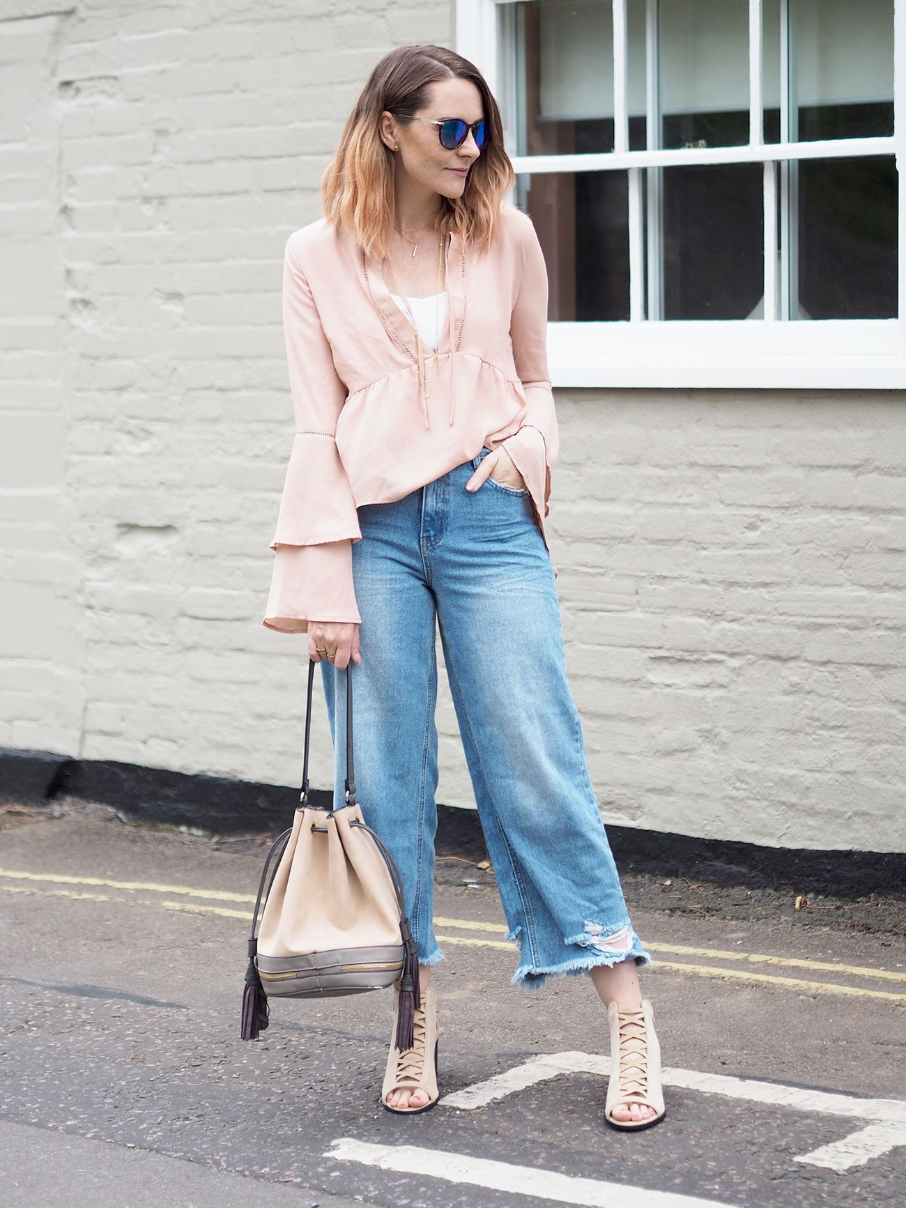 missguided flared sleeve blouse outfit and jeans