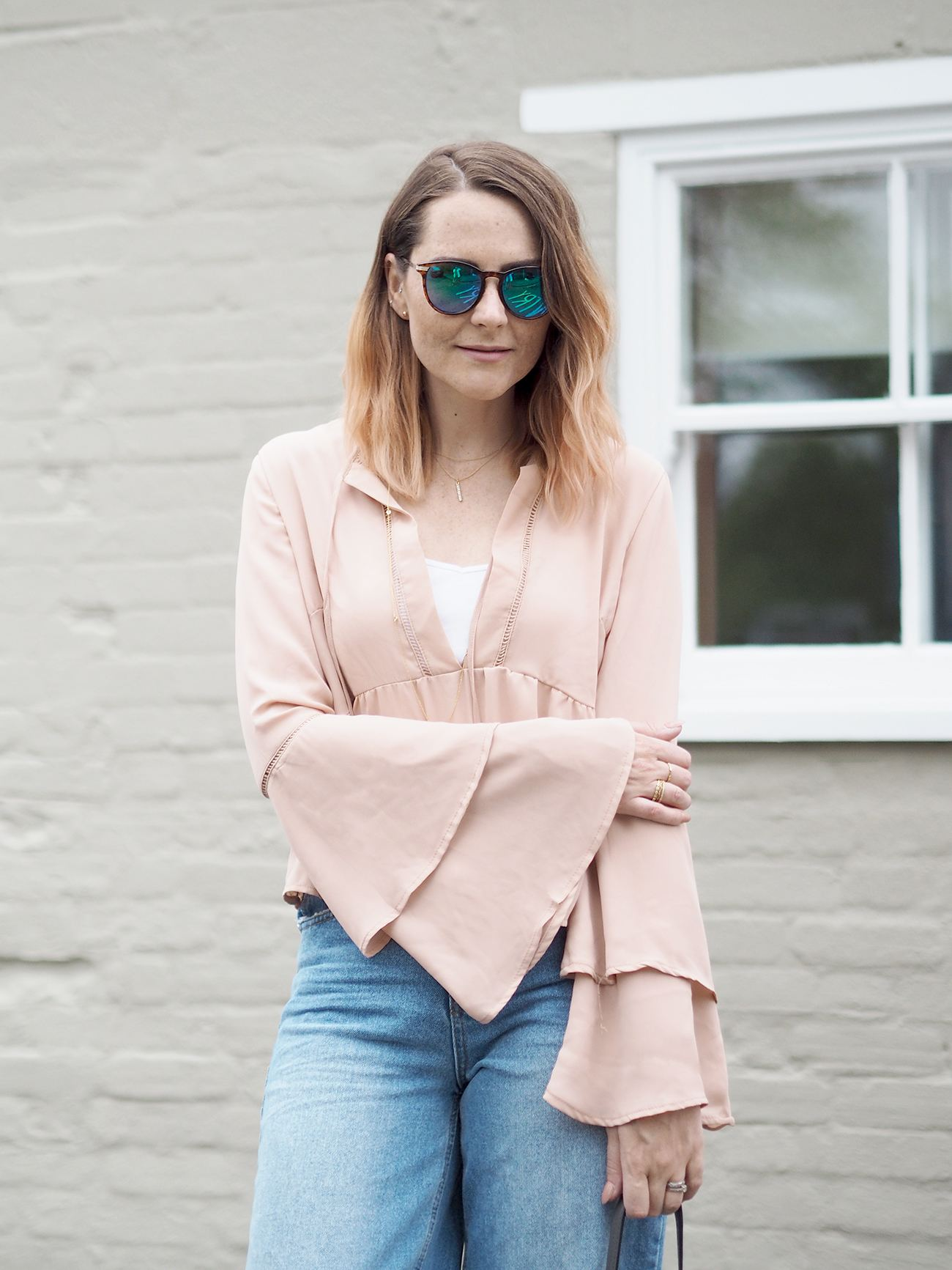 missguided flared sleeve blouse outfit