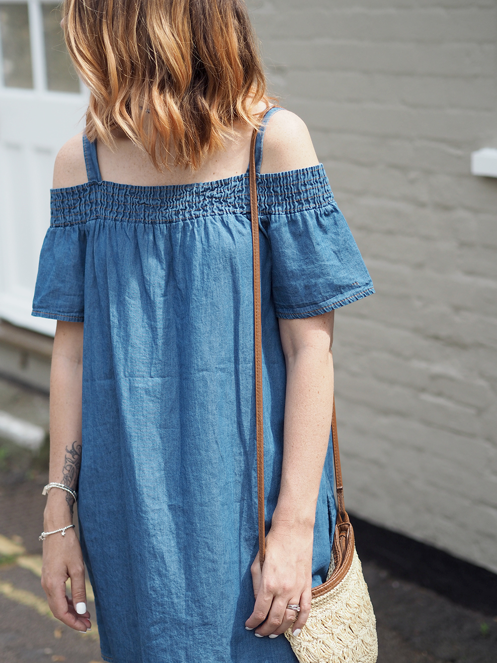 denim bardot summer dress