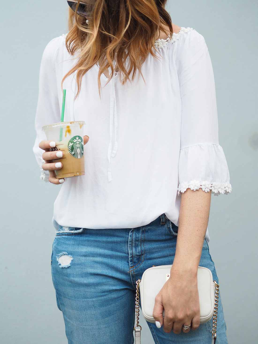 white lace embroidered blouse