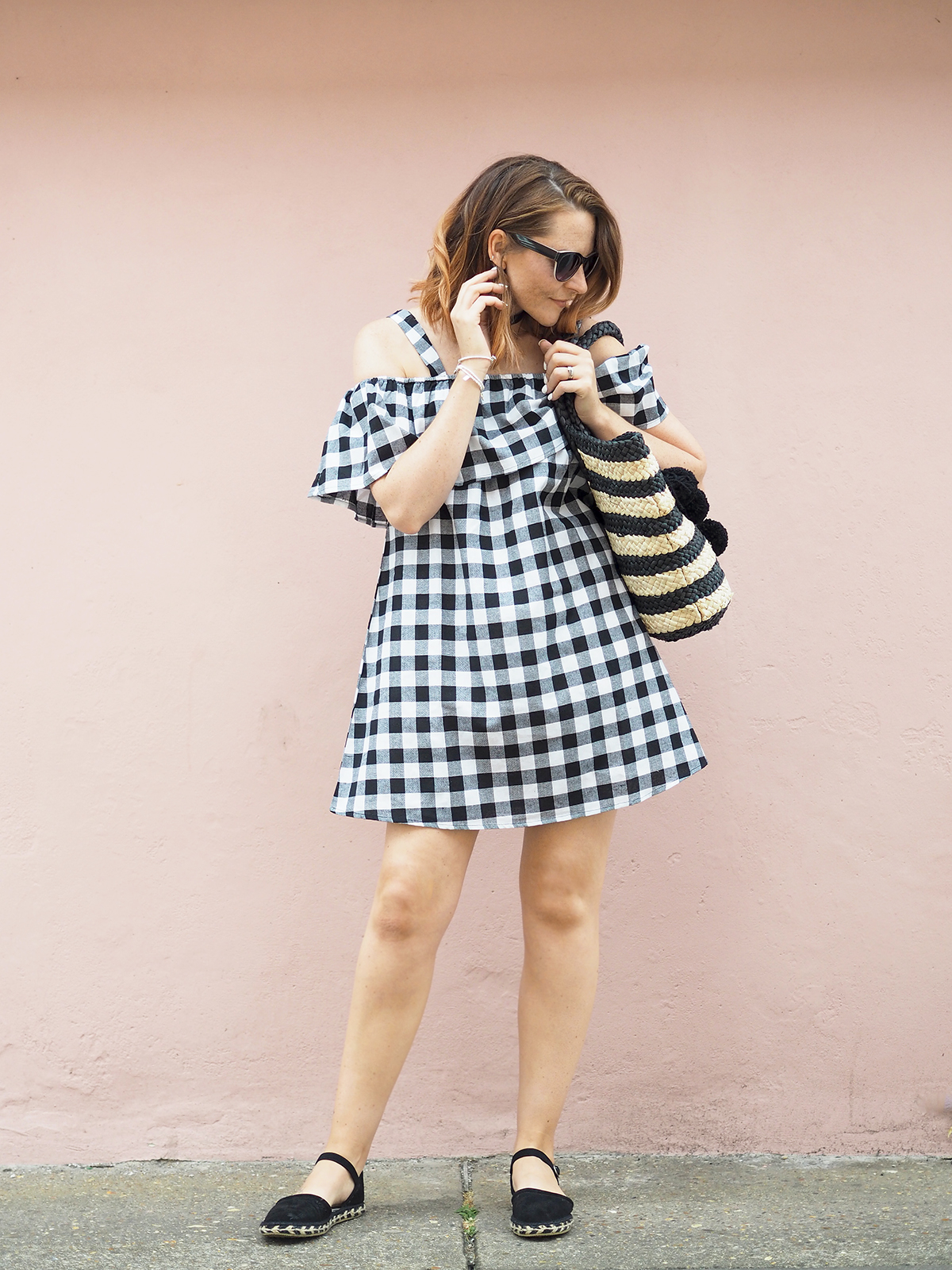 gingham bardot summer dress