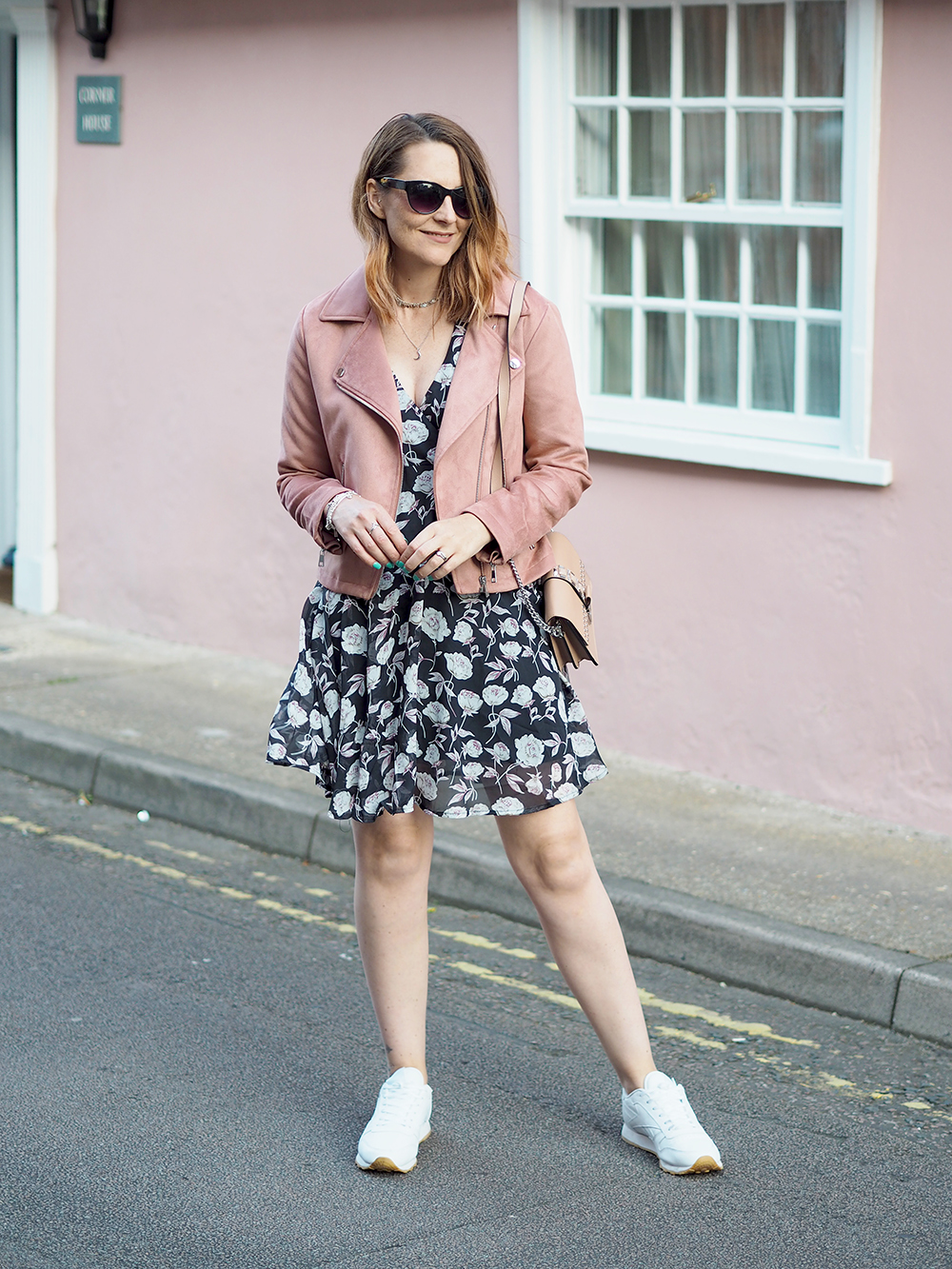 boohoo floral tea dress and pink biker jacket