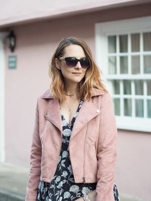 boohoo floral tea dress and pink biker jacket