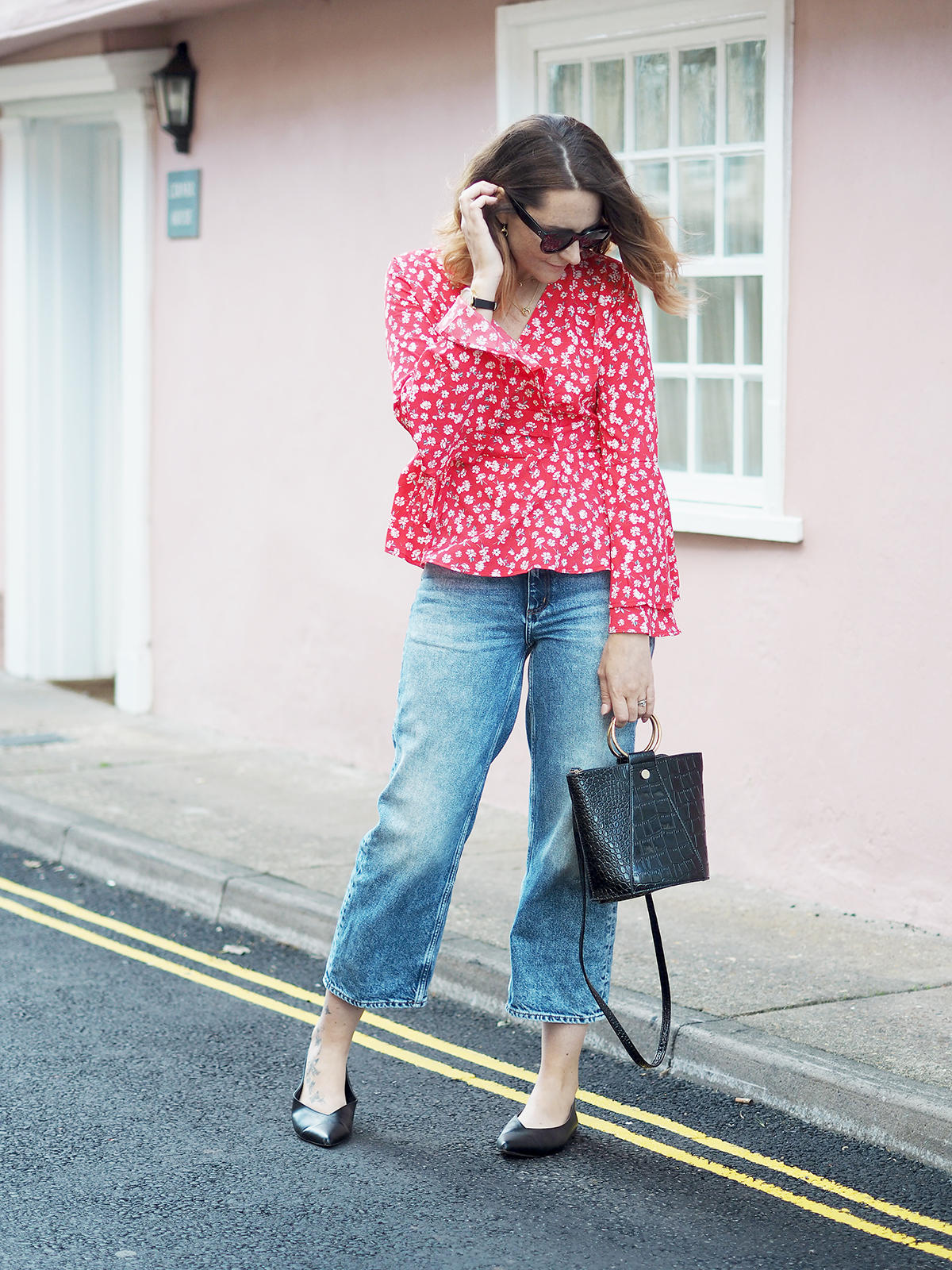 floral wrap blouse outfit with jeans