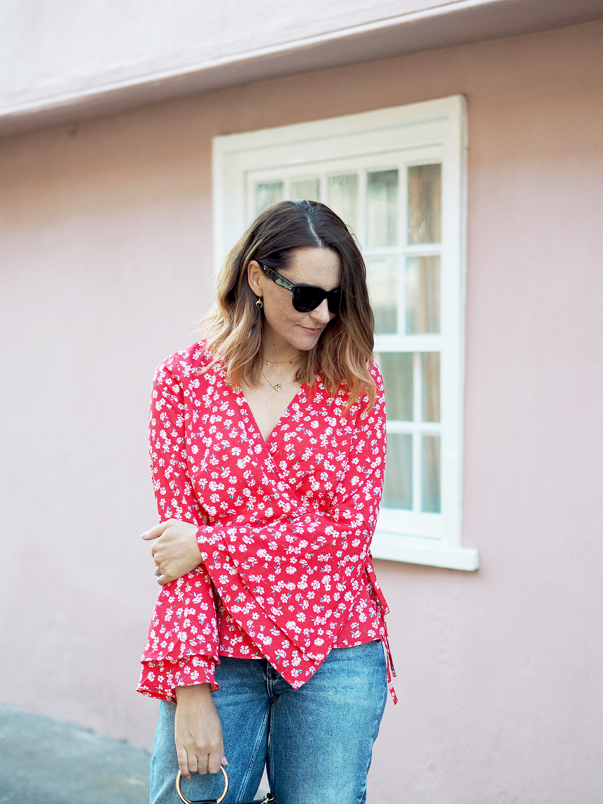 floral wrap blouse outfut with Celine baby audrey sunglasses