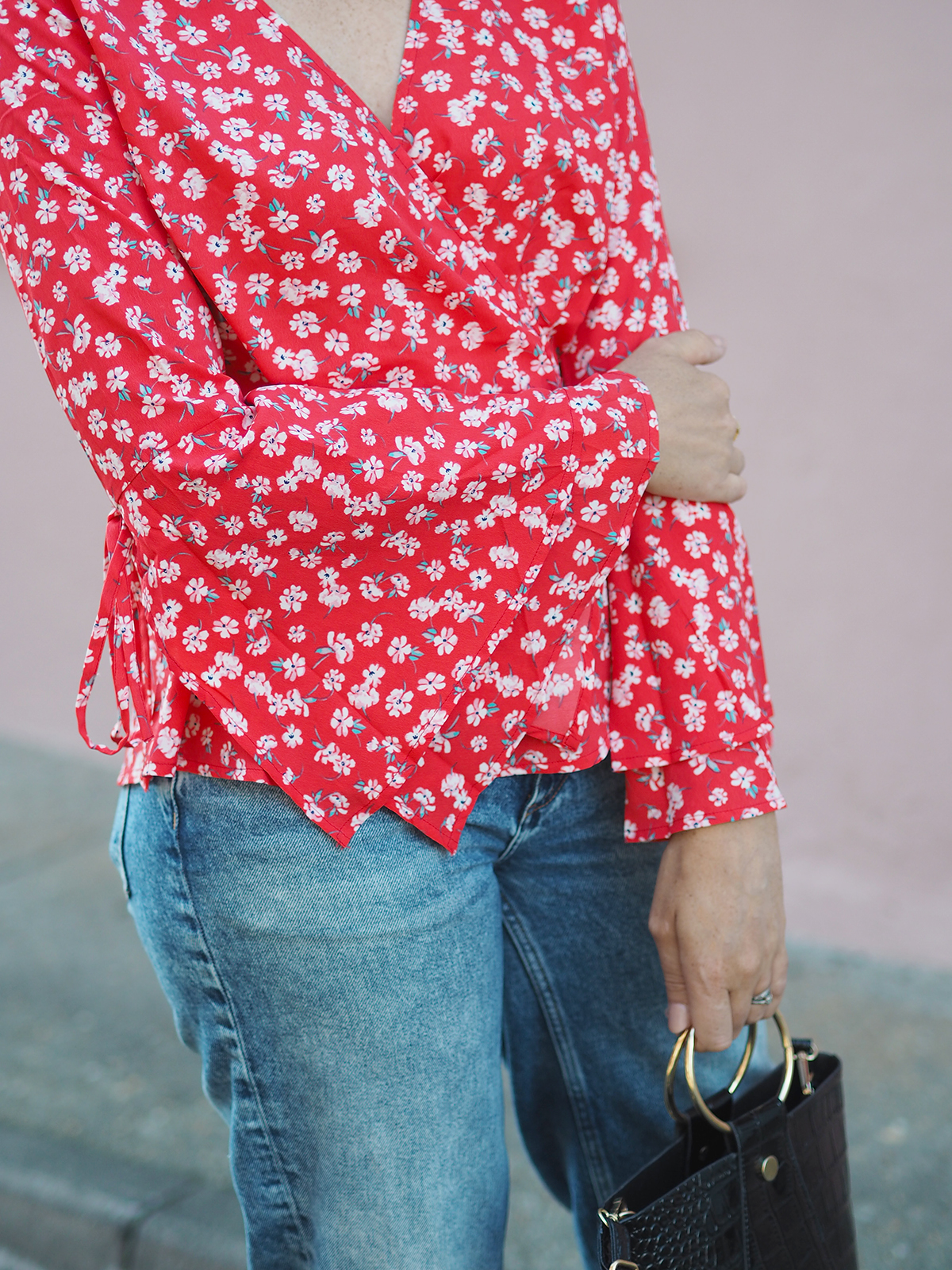 floral wrap blouse with flared sleeves