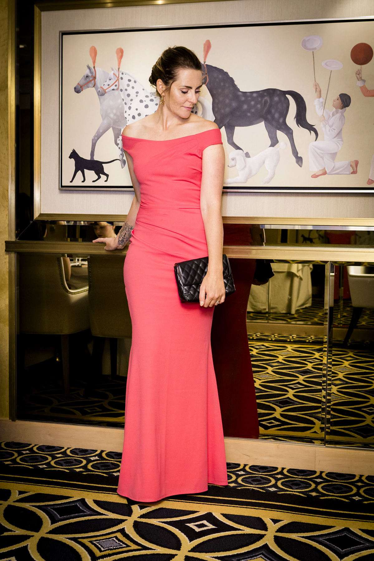 pink fishtail gown outfit