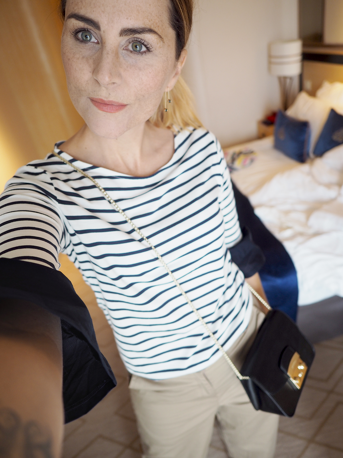 chinos and striped tee outfit
