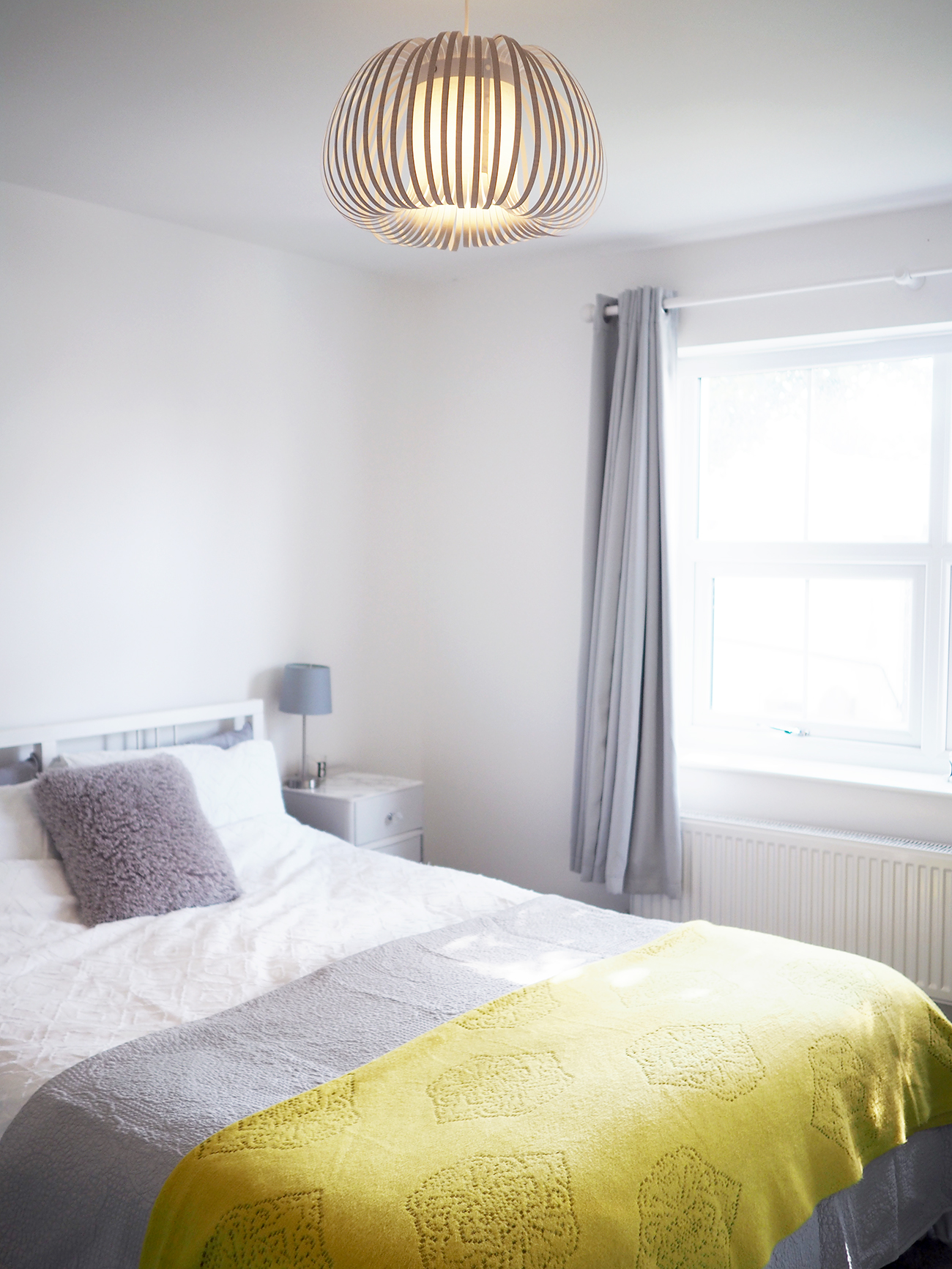 grey and yellow bedroom decor