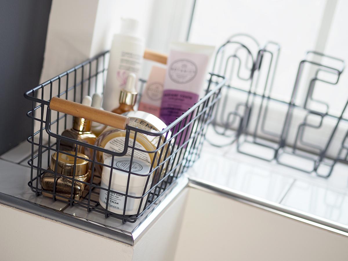 bathroom grey mesh storage baskets