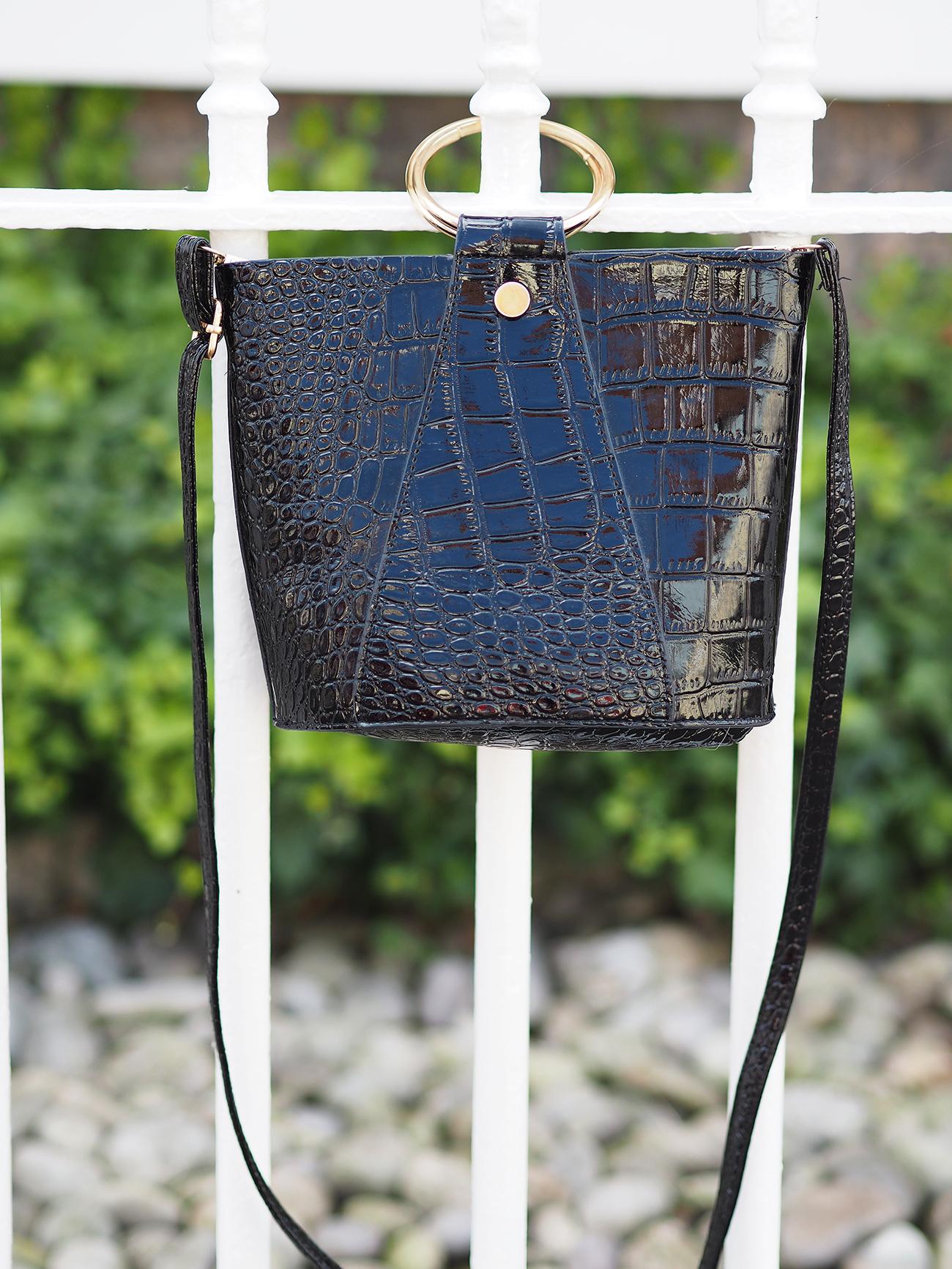 ring handle bag black croc