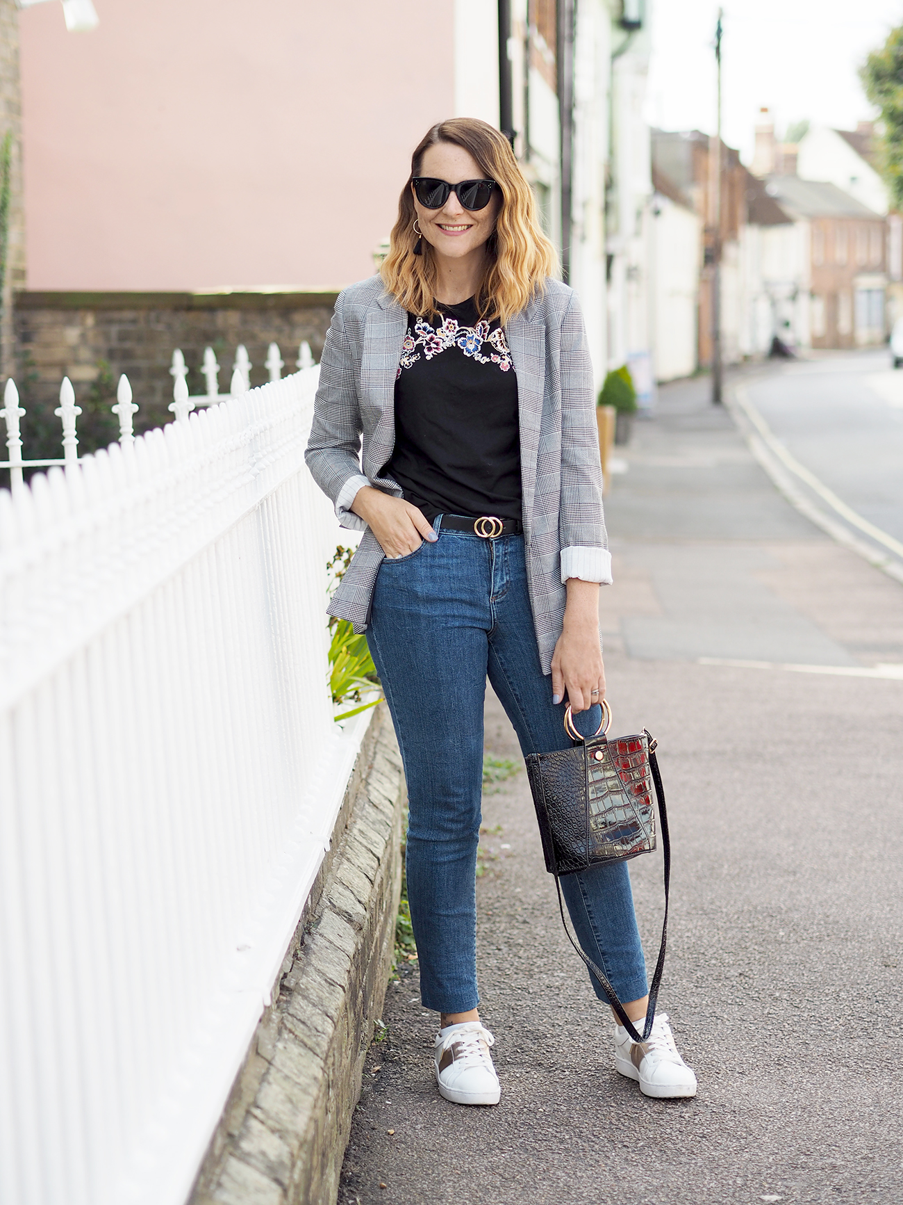 checked blazer casual outfit