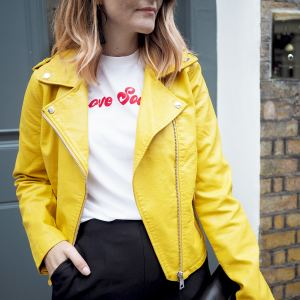 yellow biker jacket outfit